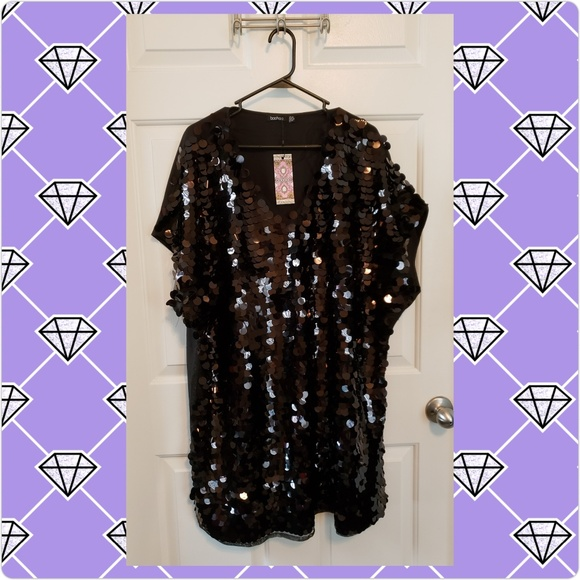 fa236221 Boohoo Plus Dresses | Boohoo Sequin Disk Shift Dress | Poshmark